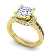 Halo Cushion Aksika Diamond Ring with Blue Sapphire in 14k Yellow Gold