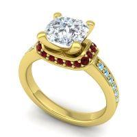 Halo Cushion Aksika Diamond Ring with Garnet and Aquamarine in 14k Yellow Gold
