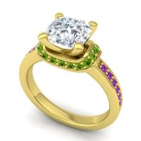 Halo Cushion Aksika Diamond Ring with Peridot and Amethyst in 18k Yellow Gold