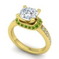 Halo Cushion Aksika Diamond Ring with Peridot in 14k Yellow Gold