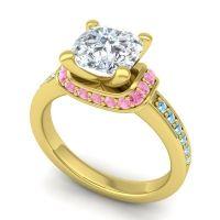 Halo Cushion Aksika Diamond Ring with Pink Tourmaline and Aquamarine in 18k Yellow Gold