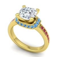 Halo Cushion Aksika Diamond Ring with Swiss Blue Topaz and Ruby in 18k Yellow Gold