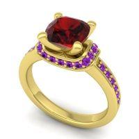 Halo Cushion Aksika Garnet Ring with Amethyst in 14k Yellow Gold