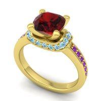 Halo Cushion Aksika Garnet Ring with Aquamarine and Amethyst in 18k Yellow Gold