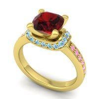Halo Cushion Aksika Garnet Ring with Aquamarine and Pink Tourmaline in 14k Yellow Gold