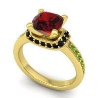 Halo Cushion Aksika Garnet Ring with Black Onyx and Peridot in 18k Yellow Gold