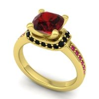 Halo Cushion Aksika Garnet Ring with Black Onyx and Ruby in 14k Yellow Gold