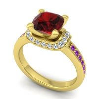Halo Cushion Aksika Garnet Ring with Diamond and Amethyst in 14k Yellow Gold