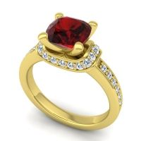 Halo Cushion Aksika Garnet Ring with Diamond in 18k Yellow Gold