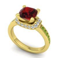 Halo Cushion Aksika Garnet Ring with Diamond and Peridot in 14k Yellow Gold