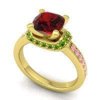 Halo Cushion Aksika Garnet Ring with Peridot and Pink Tourmaline in 18k Yellow Gold