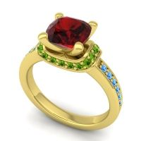 Halo Cushion Aksika Garnet Ring with Peridot and Swiss Blue Topaz in 14k Yellow Gold