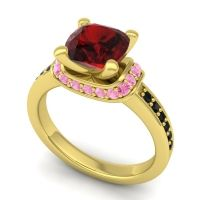 Halo Cushion Aksika Garnet Ring with Pink Tourmaline and Black Onyx in 14k Yellow Gold
