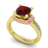 Halo Cushion Aksika Garnet Ring with Pink Tourmaline and Swiss Blue Topaz in 18k Yellow Gold