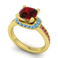 Halo Cushion Aksika Garnet Ring with Swiss Blue Topaz and Ruby in 14k Yellow Gold