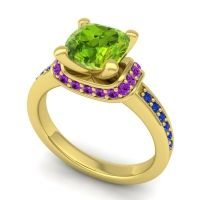 Halo Cushion Aksika Peridot Ring with Amethyst and Blue Sapphire in 14k Yellow Gold