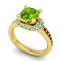 Halo Cushion Aksika Peridot Ring with Aquamarine and Garnet in 14k Yellow Gold