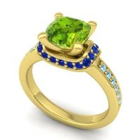 Halo Cushion Aksika Peridot Ring with Blue Sapphire and Aquamarine in 18k Yellow Gold