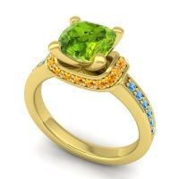 Halo Cushion Aksika Peridot Ring with Citrine and Swiss Blue Topaz in 18k Yellow Gold