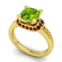 Halo Cushion Aksika Peridot Ring with Garnet and Citrine in 14k Yellow Gold