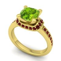Halo Cushion Aksika Peridot Ring with Garnet in 18k Yellow Gold