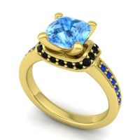 Halo Cushion Aksika Swiss Blue Topaz Ring with Black Onyx and Blue Sapphire in 14k Yellow Gold