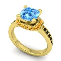 Halo Cushion Aksika Swiss Blue Topaz Ring with Citrine and Black Onyx in 18k Yellow Gold