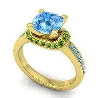 Halo Cushion Aksika Swiss Blue Topaz Ring with Peridot in 14k Yellow Gold