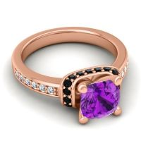 Halo Cushion Aksika Amethyst Ring with Black Onyx and Diamond in 14K Rose Gold