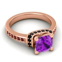 Halo Cushion Aksika Amethyst Ring with Black Onyx and Garnet in 14K Rose Gold