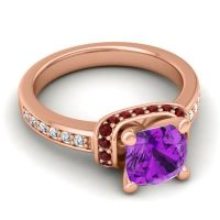 Halo Cushion Aksika Amethyst Ring with Garnet and Diamond in 18K Rose Gold