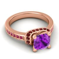Halo Cushion Aksika Amethyst Ring with Garnet and Ruby in 18K Rose Gold