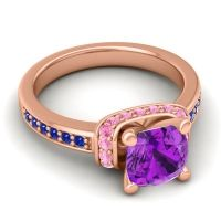 Halo Cushion Aksika Amethyst Ring with Pink Tourmaline and Blue Sapphire in 14K Rose Gold
