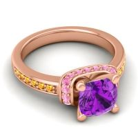 Halo Cushion Aksika Amethyst Ring with Pink Tourmaline and Citrine in 18K Rose Gold