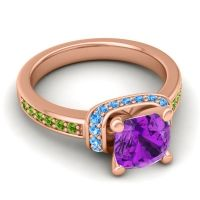 Halo Cushion Aksika Amethyst Ring with Swiss Blue Topaz and Peridot in 14K Rose Gold