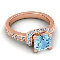 Halo Cushion Aksika Aquamarine Ring with Diamond in 14K Rose Gold