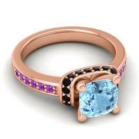 Halo Cushion Aksika Aquamarine Ring with Black Onyx and Amethyst in 18K Rose Gold