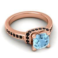 Halo Cushion Aksika Aquamarine Ring with Black Onyx in 18K Rose Gold