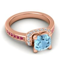 Halo Cushion Aksika Aquamarine Ring with Diamond and Ruby in 14K Rose Gold