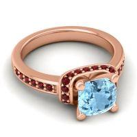 Halo Cushion Aksika Aquamarine Ring with Garnet in 18K Rose Gold