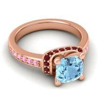 Halo Cushion Aksika Aquamarine Ring with Garnet and Pink Tourmaline in 14K Rose Gold