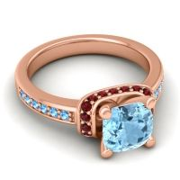 Halo Cushion Aksika Aquamarine Ring with Garnet and Swiss Blue Topaz in 18K Rose Gold