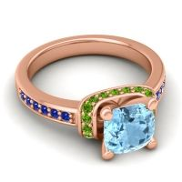 Halo Cushion Aksika Aquamarine Ring with Peridot and Blue Sapphire in 18K Rose Gold