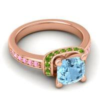 Halo Cushion Aksika Aquamarine Ring with Peridot and Pink Tourmaline in 18K Rose Gold