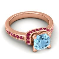 Halo Cushion Aksika Aquamarine Ring with Ruby in 18K Rose Gold