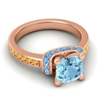 Halo Cushion Aksika Aquamarine Ring with Swiss Blue Topaz and Citrine in 14K Rose Gold