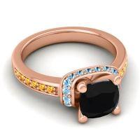 Halo Cushion Aksika Black Onyx Ring with Aquamarine and Citrine in 14K Rose Gold