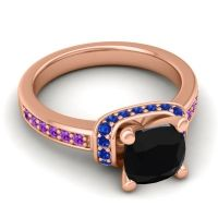 Halo Cushion Aksika Black Onyx Ring with Blue Sapphire and Amethyst in 14K Rose Gold