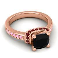 Halo Cushion Aksika Black Onyx Ring with Garnet and Pink Tourmaline in 18K Rose Gold