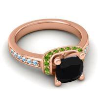 Halo Cushion Aksika Black Onyx Ring with Peridot and Aquamarine in 14K Rose Gold